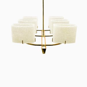 Mid-Century Wood & Brass Ceiling Light, 1960s