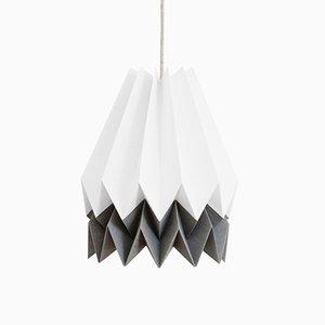 Lampe Origami Blanc Polaire avec Bande Gris Alpin par Orikomi