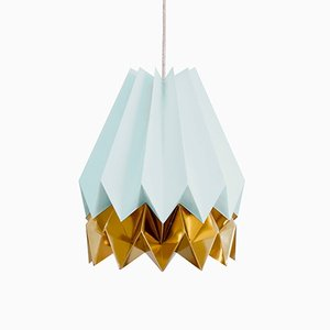 Lampe Origami Bleu Menthe avec Bande Or Chaud par Orikomi