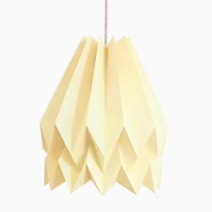 PLUS Plain Pale Yellow Origami Lamp by Orikomi