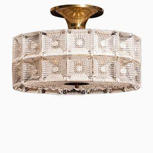 Große Deckenlampe aus Glas & Messing Deckenlampe von Carl Fagerlund für Orrefors, 1960er