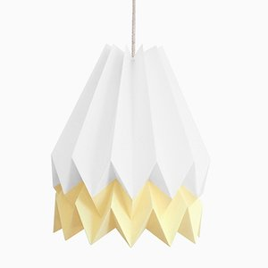 PLUS Polar White Origami Lamp with Pale Yellow Stripe by Orikomi