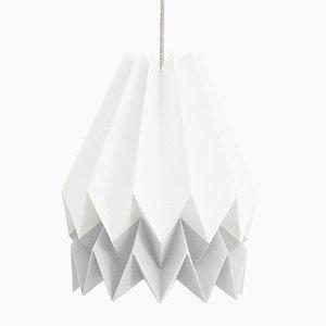 Lampe Origami PLUS Blanc Polaire avec Bande Couleur Gris Clair par Orikomi