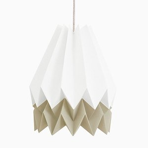 PLUS Polar White Origami Lamp with Light Taupe Stripe by Orikomi