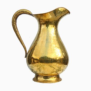 Italian Large Hammered Brass Vase, 1950s
