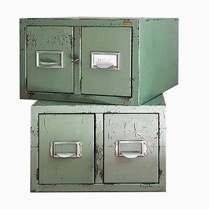 Vintage Lockable Industrial Iron Filing Cabinets, Set of 2