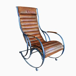 Rocking Chair Antique en Acier & Cuir par RW Winfield