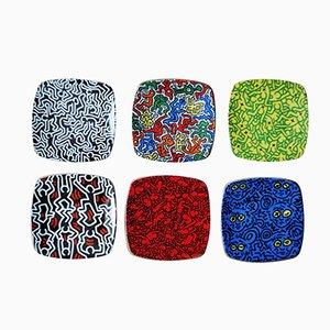 Assiettes par Keith Haring pour Tognana, 1990s, Set de 6