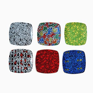 Teller von Keith Haring für Tognana, 1990er, 6er Set
