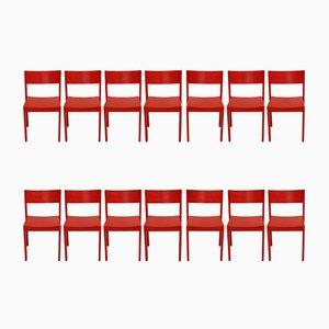 Rote Mid-Century Esszimmerstühle von Carl Auböck für E. & A. Pollack, 14er Set