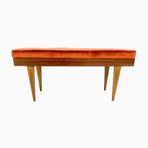 Italian Wooden Bench with Orange Fabric Upholstery, 1950s