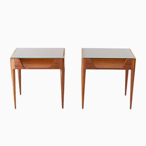 Mahogany & Glass Nightstands from Fratelli Strada, 1950s, Set of 2