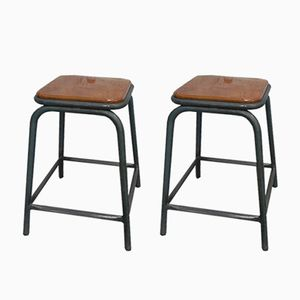 Industrial Steel Stools, Set of 2