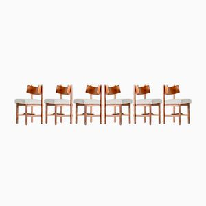 Belgian Oak Dining Chairs by Simon Packo, 1972, Set of 6
