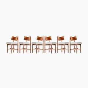 Belgische Eichenholz Esszimmerstühle von Simon Packo, 1972, 6er Set