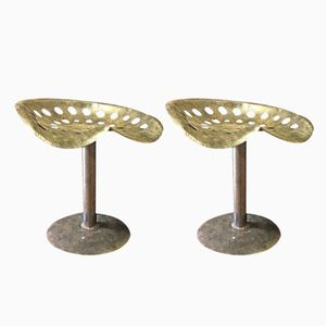 Vintage Industrial French Stools, 1940s, Set of 2