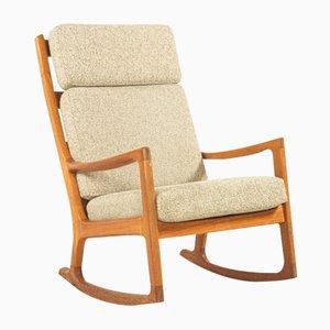 Rocking Chair à Dossier Haut par Ole Wanscher pour Peter Jeppesen, 1960s