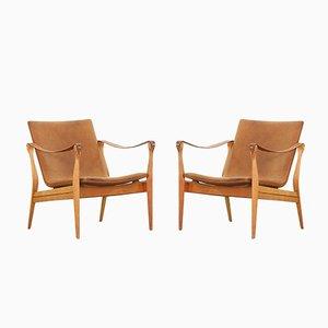 Safari Sessel von Ebbe und Karen Clemmensen für Fritz Hansen, 1958, 2er Set