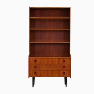 Teak Veneer Bookcase with 3 Drawers, 1970s