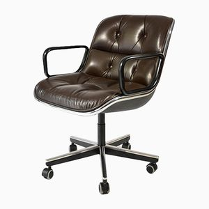Dark Brown Leather Executive Chair by Charles Pollock for Knoll, 1963