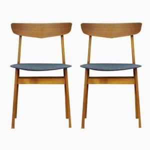 Teak Veneer & Beech Dining Chairs, 1970s, Set of 2