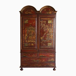 18th-Century Portuguese Red Lacquered Cabinet