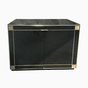 Italian Low Cabinet with Brass Details, 1970s