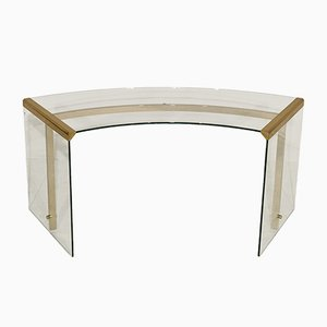 Glass and Brass President Junior Desk by Pierangelo Gallotti for Gallotti & Radice, 1989