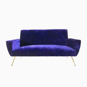 Velvet 3-Seater Sofa, 1950s