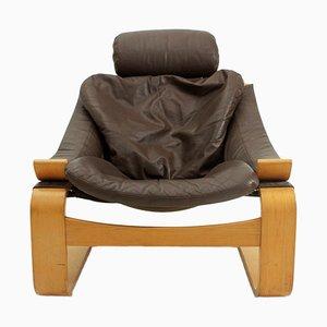fauteuil Kroken en Cuir par Ake Fribyter pour Nelo, 1970s