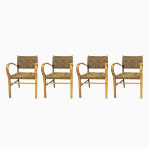 French Beech and Rope Chairs, 1950s, Set of 4