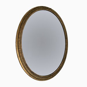 Large Gilt Oval Mirror, 1850s