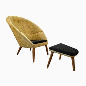 Oda Nursing Chair and Ottoman by Nanna Ditzel for Kolds Savværk, 1960s