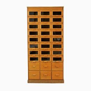 Vintage English Light Oak Haberdashery Cabinet, 1940s