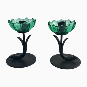 Green Glass & Metal Candlesticks by Gunnar Ander, 1960s, Set of 2