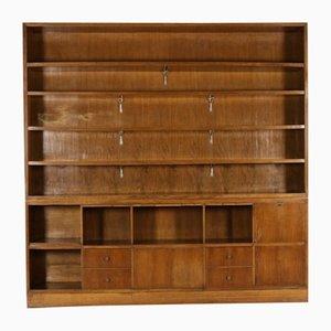 Walnut Veneer Double Body Bookcase, 1940s