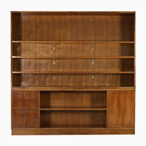 Italian Double Body Walnut Veneer Bookcase, 1940s