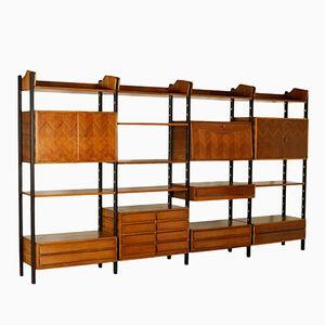 Libreria vintage impiallacciata in legno di noce e palissandro con elementi regolabili, Italia