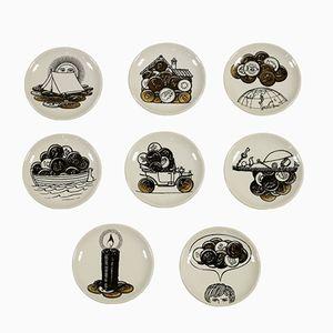 Sottobicchieri vintage in ceramica di Piero Fornasetti, set di 8