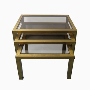 Vintage Brass Nesting Tables with Smoked Glass, 1960s