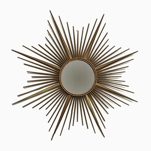 Vintage French Gilded Metal Sunburst Mirror from Chaty Vallauris, 1960s