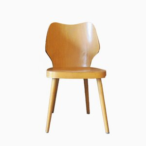 Scandinavian Plywood Chair with Splayed Legs and Curved Back, 1950s