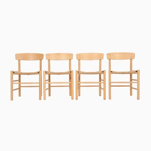 Vintage J39 Beech Dining Chairs by Børge Mogensen for Fredericia, Set of 4