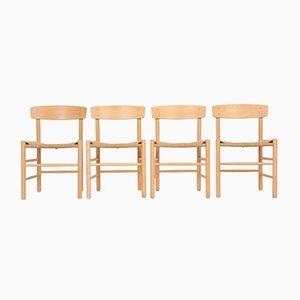 Vintage J39 Esszimmerstühle aus Buchenholz von Børge Mogensen für Fredericia, 4er Set