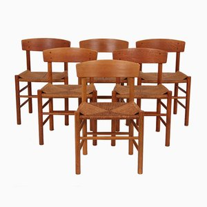 Vintage J39 Oak Dining Chairs by Børge Mogensen for Fredericia, Set of 6