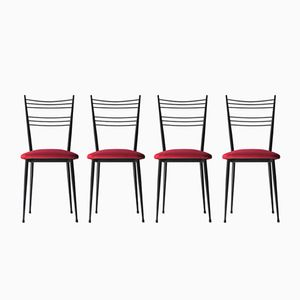 Black Lacquered Metal Chairs Upholstered in Cotton Velvet, 1970s, Set of 4