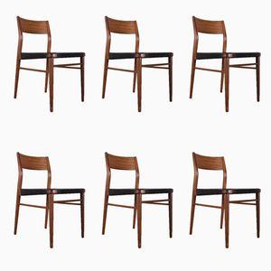 Skandinavische Vintage Stühle aus Teakholz & Leder, 6er Set