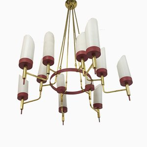 Italian Brass and White Glass Chandelier, 1950s