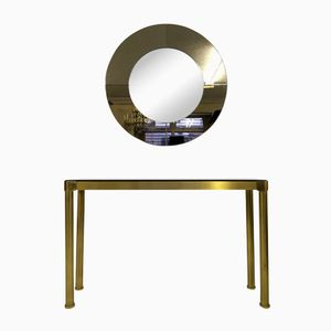 Italian Brass Console Table with Mirror, 1970s