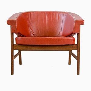 Sessel aus teak & rotem Leder, 1960er